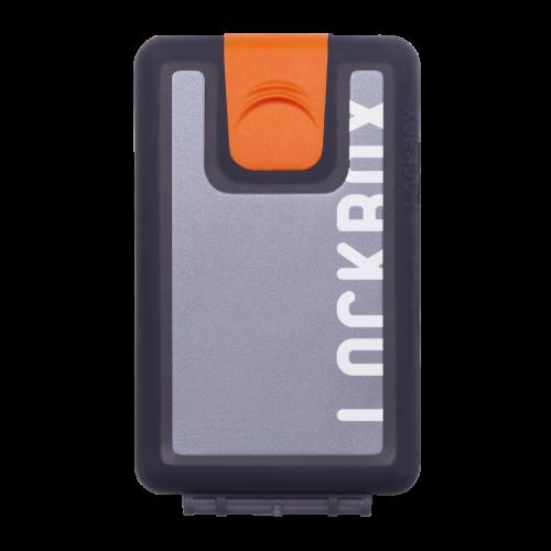 Lockbox Transp Grey Silver plata clip naranja
